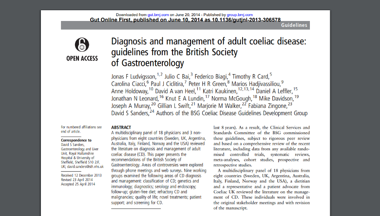BSG guidelines: The diagnosis and management of adult coeliac disease